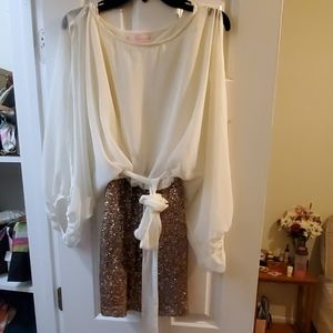 Cream & Bronze Sequined Party Dress